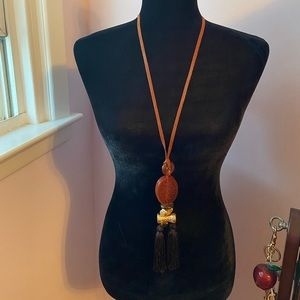 New Chico's Scarlet Tassel Necklace